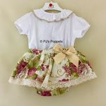 Baby Girls Jam Pants Spanish Portuguese Bloomer Set Frilly Lace Cream Beige Flor